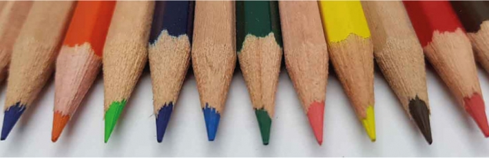 Hexagonal pencils with coloured leads