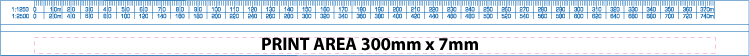 Triangular scale ruler print area