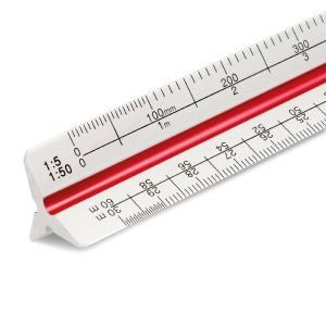 300mm metal triangular scale ruler, silver - coloured furrows