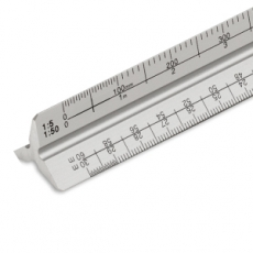 300mm metal triangular scale ruler - silver